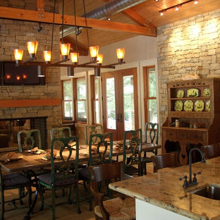 Inspiration For A Rustic Kitchen Dining Room Combo Remodel In Houston With Two