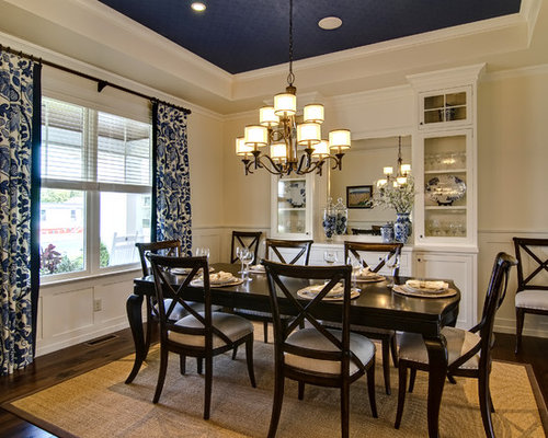 Traditional Dining Room Idea In Other With Beige Walls And Dark Hardwood  Floors