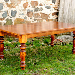 "Farm Tables - Farm house table made of reclaimed yellow pine barn wood, dimensions 84"" x 40"" x 1.5"" thick"