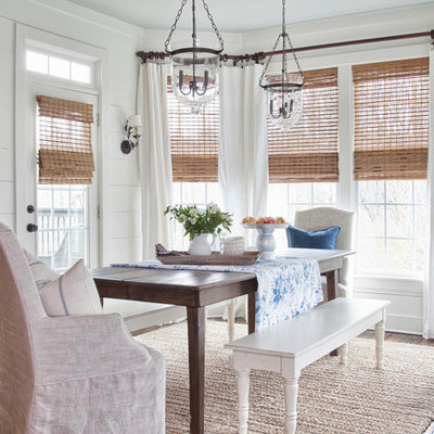 Inspiration for a farmhouse dark wood floor dining room remodel in Atlanta with white walls and no fireplace