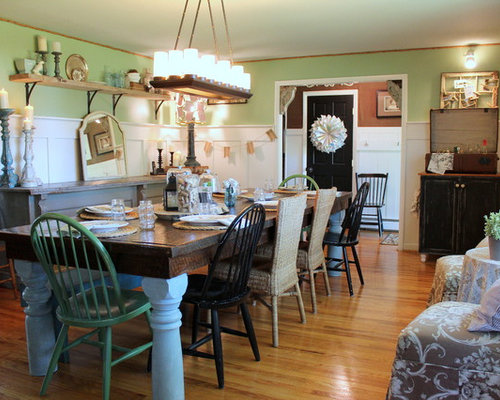 Shabby Chic Style Dining Room Idea In Philadelphia With Green Walls And Medium Tone Hardwood