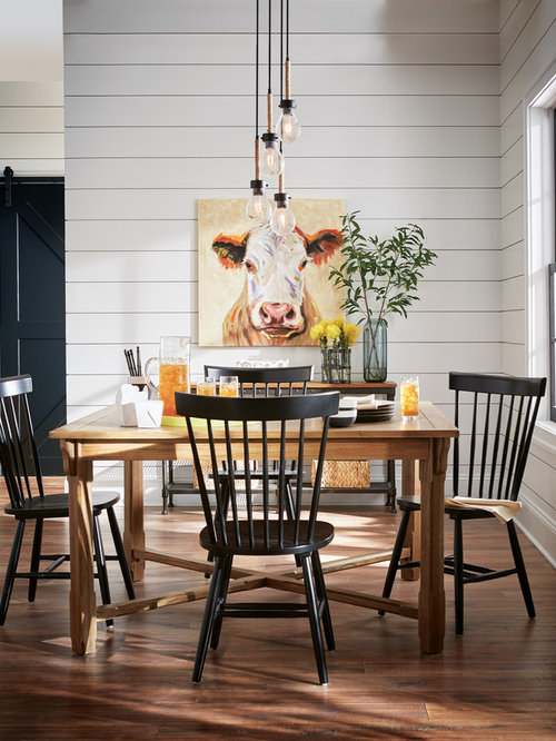 Farmhouse Dining Room Idea In Other With White Walls Dark Wood Floors And Brown