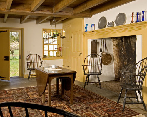 Country Dining Room Photo In Philadelphia With White Walls And A Standard Fireplace
