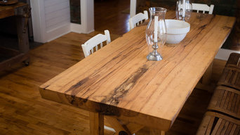 Farmhouse Kitchen, Dining Table & recaimed barnwood paneling