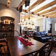 Farmhouse Dining Room by JDA Design Architects Inc