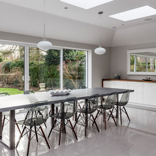 Design ideas for an expansive contemporary kitchen/dining room in Hertfordshire with porcelain flooring, grey floors and grey walls.