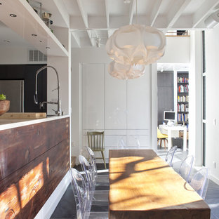 Example of a trendy kitchen/dining room combo design in San Francisco with white walls