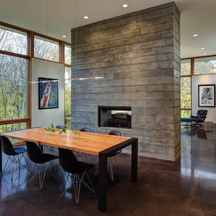 Inspiration for a mid-sized contemporary concrete floor and brown floor great room remodel in Milwaukee with a two-sided fireplace and white walls