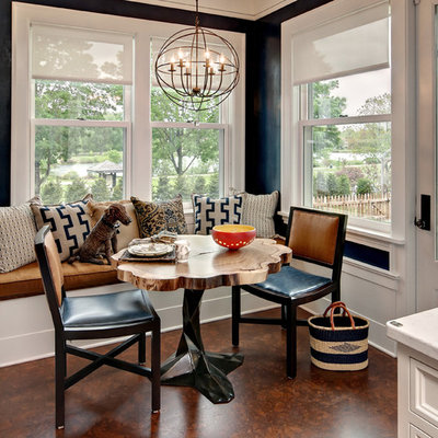 Kitchen/dining room combo - transitional kitchen/dining room combo idea in Minneapolis with black walls