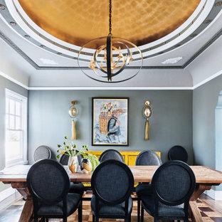 Idéer för mellanstora eklektiska separata matplatser, med grå väggar och flerfärgat golv