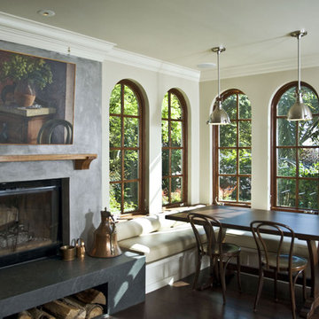 Fireplace with hearth and custom banquette