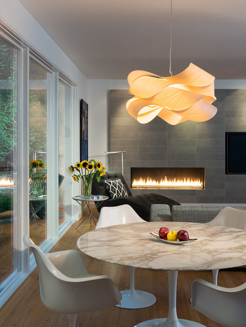 fireplace lighting. contemporary medium tone wood floor dining room idea in dc metro with white walls fireplace lighting