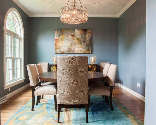 Transitional Enclosed Dining Room Photo In Providence With Blue Walls And Medium Tone Hardwood Floors