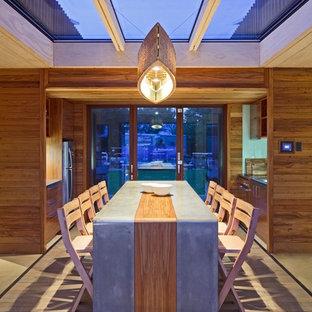Foto de comedor costero, de tamaño medio, abierto, con paredes marrones y suelo de madera clara