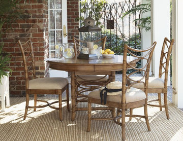 Five-Piece Coconut Grove Round Dining Table & Sanibel Bent Rattan Side Chairs