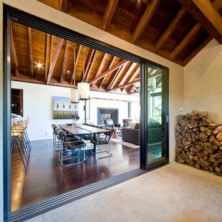 Ispirazione per una sala da pranzo aperta verso la cucina contemporanea di medie dimensioni con pareti bianche, parquet scuro e camino classico
