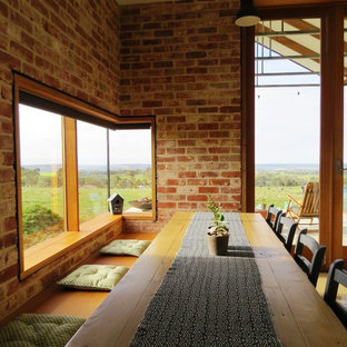 Inspiration For A Farmhouse Dining Room Remodel In Adelaide With Red Walls