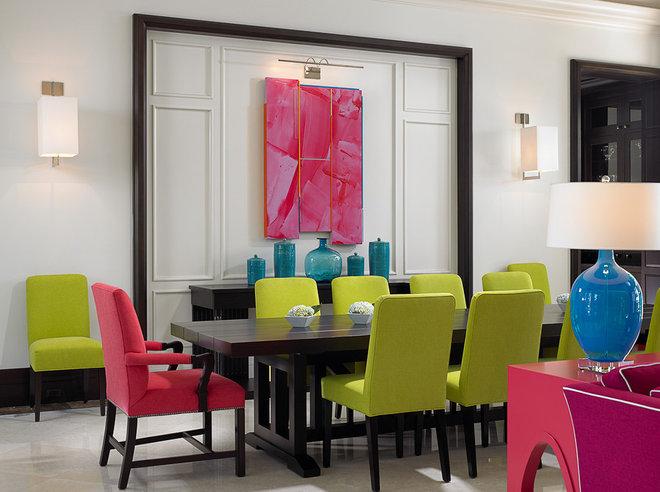 Tropical Dining Room by John David Edison Interior Design Inc.
