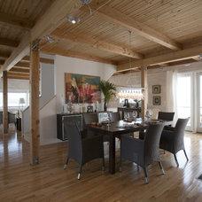 Beach Style Dining Room by Habitat Post & Beam, Inc.