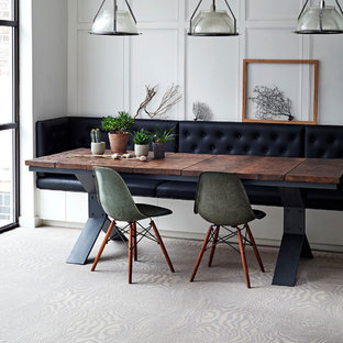 This is an example of a medium sized contemporary dining room in Sydney with white walls.