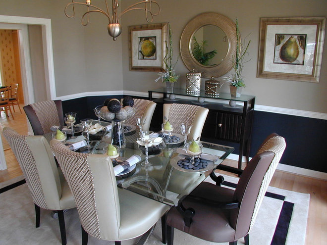 Traditional dining room by laura manning bendik for Dining room decorating ideas with chair rail