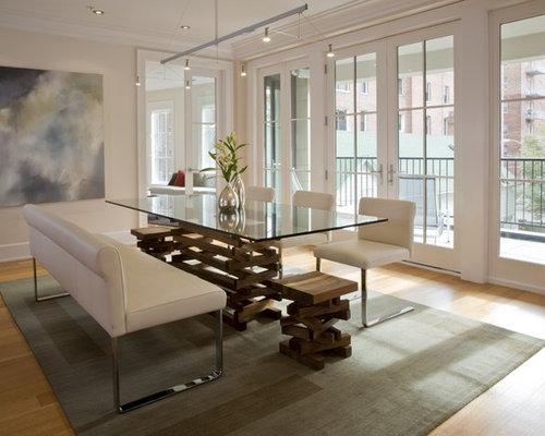 Contemporary Medium Tone Wood Floor And Beige Dining Room Idea In DC Metro With
