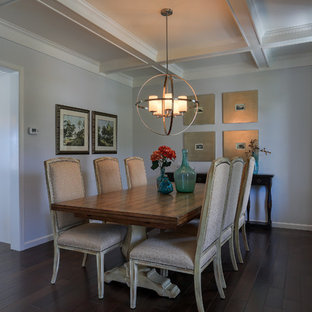 Enclosed dining room - large cottage dark wood floor and brown floor enclosed dining room idea in Other with gray walls