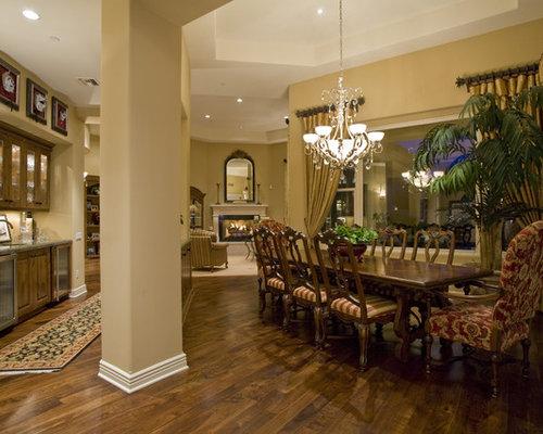 Mid Sized Elegant Dark Wood Floor Kitchen/dining Room Combo Photo In  Phoenix With