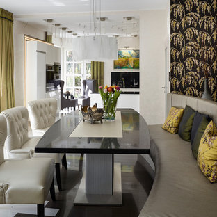 Trendy dark wood floor dining room photo in Other with white walls