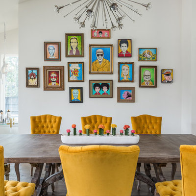 Inspiration for an eclectic great room remodel in Dallas with white walls