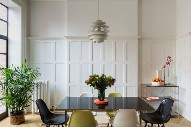 Transitional Dining Room by Kate Glicksberg Photography