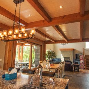 Diseño de comedor de cocina vintage, grande, con paredes blancas, suelo de madera clara, chimenea tradicional, marco de chimenea de hormigón y suelo multicolor