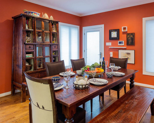Red dining room design ideas remodels photos with for Orange dining room design ideas
