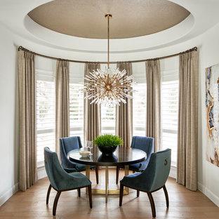 На фото: кухни-столовые среднего размера в стиле современная классика с белыми стенами, светлым паркетным полом, горизонтальным камином, фасадом камина из камня и серым полом