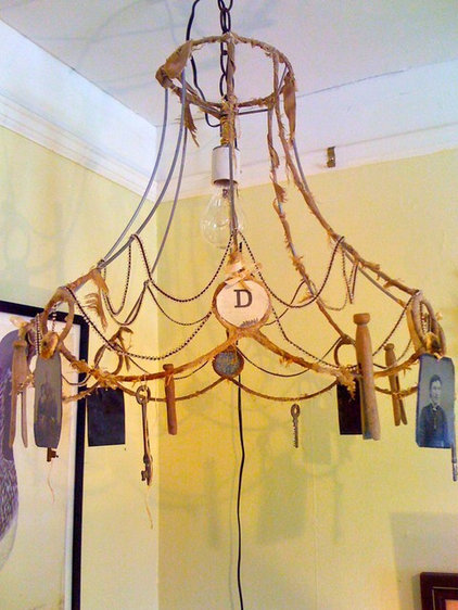 Eclectic Dining Room Found Object Chandelier