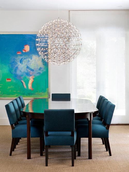 Orb light houzz for Light blue dining room ideas