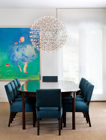 Transitional Dining Room by Simpson Design Group Architects