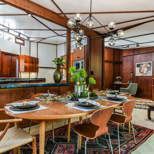 1960s carpeted and beige floor kitchen/dining room combo photo in San Francisco with beige walls