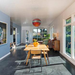 フェニックスの中サイズのミッドセンチュリースタイルのおしゃれなダイニングキッチン (青い壁、スレートの床、暖炉なし) の写真
