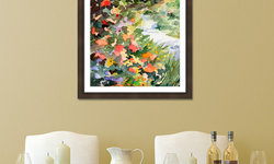 French Country Dining Room with Monet's Garden in Giverny Framed Print