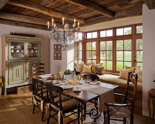 Farmhouse Dining Room Idea In Phoenix With White Walls And Medium Tone Wood  Floors Part 18