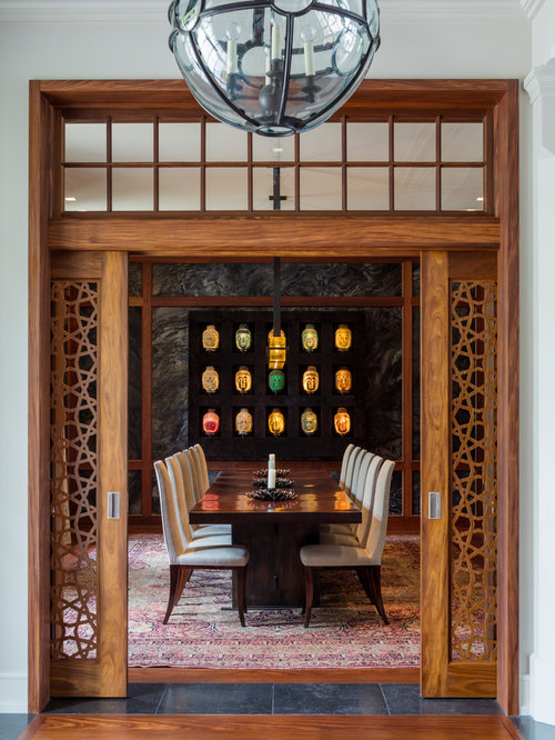 Inspiration For An Asian Medium Tone Wood Floor And Brown Floor Enclosed Dining  Room Remodel In