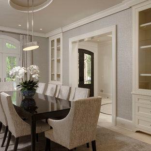 На фото: класса люкс большие отдельные столовые в классическом стиле с серыми стенами, полом из известняка и белым полом