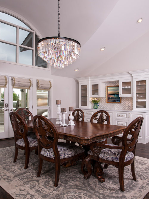 Dark Dining Room Ideas Part - 44: Inspiration For A Large Timeless Dark Wood Floor And Brown Floor Kitchen/dining  Room Combo