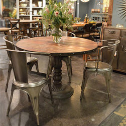 "French Soda Fountain Round Table 47"" - Inspired by late 1800s French Soda Fountains, our French Soda Fountain Round Dining Table in 47"" is hand-crafted of solid reclaimed and salvaged woods and delivers today's modern functionality with an inspired historical sculptural design."