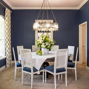 Example of a classic carpeted and gray floor enclosed dining room design in Austin with blue walls and no fireplace