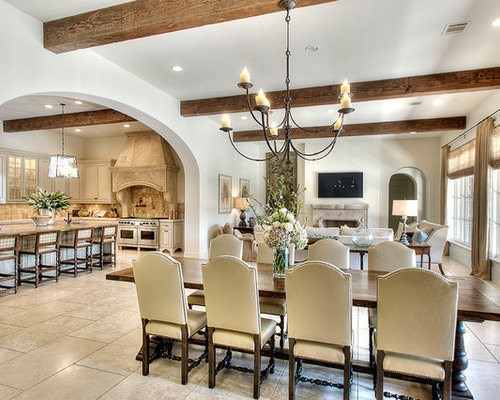 Traditional Dining Room Idea In Houston With White Walls And A Standard  Fireplace