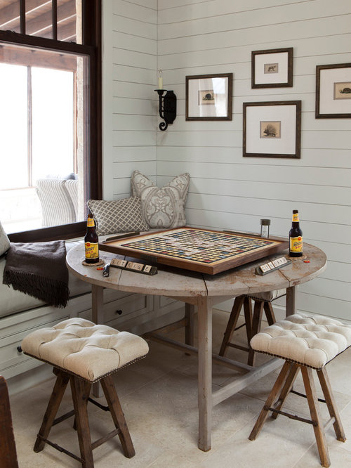 Inspiration For A Farmhouse Dining Room Remodel In Austin With White Walls
