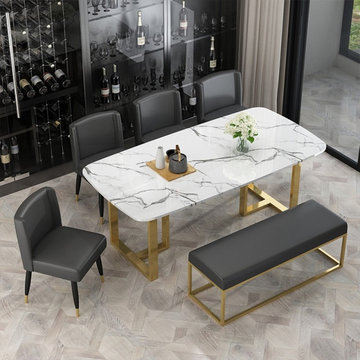 From$739.99 Modern Elegant Small Dining Table with Faux Marble Top & Metal Legs
