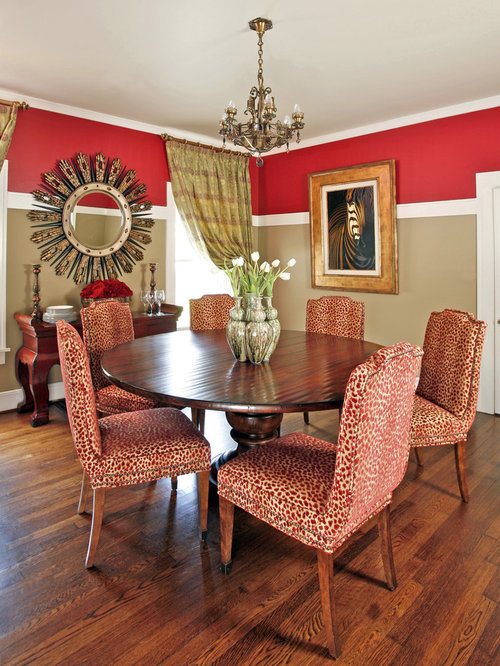 Example of a mid-sized classic enclosed dining room design in Dallas with  dark hardwood - Animal Print Dining Chair Houzz